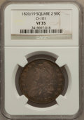 Bust Half Dollars: , 1820/19 50C Square Base 2 VF35 NGC. O-101. NGC Census: (12/126).PCGS Population (3/88). Numismedia Wsl. Price for proble...