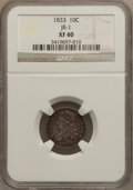 Bust Dimes: , 1833 10C XF40 NGC. JR-1. NGC Census: (10/255). PCGS Population(29/253). Mintage: 485,000. Numismedia Wsl. Price for probl...