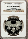Modern Issues, 2011-P $1 Medal of Honor PR70 Ultra Cameo NGC. NGC Census: (0).PCGS Population (102). Numismedia Wsl. Price for problem f...