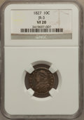 Bust Dimes: , 1827 10C VF20 NGC. JR-3. NGC Census: (3/252). PCGS Population(10/280). Mintage: 1,300,000. Numismedia Wsl. Price for prob...