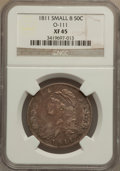 Bust Half Dollars: , 1811 50C Small 8 XF45 NGC. O-111. NGC Census: (0/0). PCGSPopulation (51/215). (#6097). From The JG Collection, PartT...