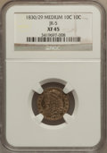 Bust Dimes: , 1830/29 10C XF45 NGC. JR-5. NGC Census: (1/28). PCGS Population (3/19). Mintage: 510,000. Numismedia Wsl. Price for proble...