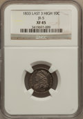 Bust Dimes: , 1833 10C Last 3 High XF45 NGC. JR-5. PCGS Population (4/23).(#4523). From The JG Collection, Part ...