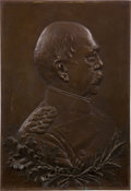 Military & Patriotic:WWI, Large Bronze Bas Relief Portrait Plaque of Otto von Bismarck - The Iron Chancellor, Circa 1894....