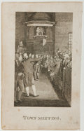 "Autographs:Statesmen, Engraved Plate Entitled ""Town Meeting"". Fair...."