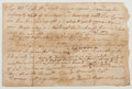 Autographs:Military Figures, [Revolutionary War]. Autograph Note Signed. Written and signed by Connecticut Colonel Charles Burrall, ordering the discharg...