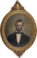 Art, Abraham Lincoln: An Important Oil Portrait from Fort AbrahamLincoln, Custer's Base of Operation in Dakota Territory. ...