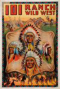 Antiques:Posters & Prints, 101 Ranch: A Marvelous, Colorful Promotional Poster FeaturingPortraits of Four Chiefs in Feathered War Bonnets. ...