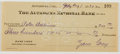 Autographs:Authors, Zane Grey. Signed Check. Good....