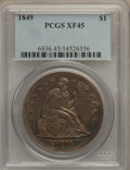 Seated Dollars: , 1849 $1 XF45 PCGS. PCGS Population (54/209). NGC Census: (24/205).Mintage: 62,600. Numismedia Wsl. Price for problem free ...