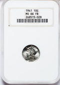 Mercury Dimes: , 1941 10C MS66 Full Bands NGC. NGC Census: (500/289). PCGS Population (971/253). Mintage: 175,106,560. Numismedia Wsl. Price...