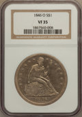 Seated Dollars: , 1846-O $1 VF35 NGC. NGC Census: (3/127). PCGS Population (27/174).Mintage: 59,000. Numismedia Wsl. Price for problem free ...