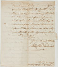 Autographs:Statesmen, Elisha Boudinot. Autograph Letter Signed. Fair. Boudinot was apatriot, and became an Associate Justice of the New Jersey Su...