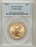 Modern Bullion Coins: , 1993 G$25 Half-Ounce Gold Eagle MS69 PCGS. PCGS Population (633/7).NGC Census: (941/49). Mintage: 73,324. Numismedia Wsl. ...
