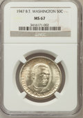 Commemorative Silver: , 1947 50C Booker T. Washington MS67 NGC. NGC Census: (5/0). PCGSPopulation (4/0). Mintage: 100,017. Numismedia Wsl. Price f...