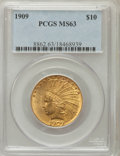 Indian Eagles: , 1909 $10 MS63 PCGS. PCGS Population (212/92). NGC Census: (124/84).Mintage: 184,700. Numismedia Wsl. Price for problem fre...