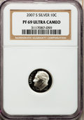 Proof Roosevelt Dimes, 2007-S 10C Silver PR69 Ultra Cameo NGC. PCGS Population (1558/440).Numismedia Wsl. Price for problem f...
