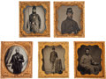 Photography:Ambrotypes, Group of Five Very Nice Sixth Plate Civil War Images. No cases....