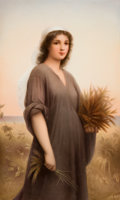 Decorative Arts, Continental:Other , A FRAMED KPM PORCELAIN PLAQUE AFTER LANDELLE: RUTH .Königliche Porzellan-Manufactur (KPM), Berlin, Germany, cir...