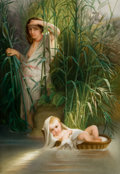 Decorative Arts, Continental, A FRAMED GERMAN PORCELAIN PLAQUE AFTER DELAROCHE: MOSES IN THEBULRUSHES . Maker unknown, Germany, circa 1900. Marks...