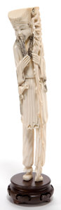 Asian:Chinese, A CHINESE IVORY FIGURE OF A SAGE . Maker unknown, Chinese, lateQing Dynasty. 12 inches high (30.5 cm). ...