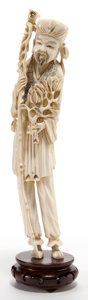 Asian:Chinese, A CHINESE IVORY FIGURE OF A SAGE . Maker unknown, Chinese, lateQing Dynasty. 12-1/4 inches high (31.1 cm) (ivory). ...