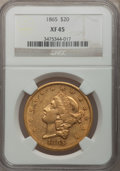 Liberty Double Eagles: , 1865 $20 XF45 NGC. NGC Census: (59/590). PCGS Population (70/171).Mintage: 351,200. Numismedia Wsl. Price for problem free...