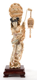 Asian:Japanese, A JAPANESE IVORY FIGURE OF A GEISHA . Maker unknown, Japanese,Meiji period (1868-1912). 11-3/8 inches high (28.8 cm) (ivory...(Total: 2 Items)