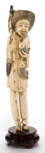 Asian:Japanese, A JAPANESE IVORY OKIMONO OF A FISHERMAN . Maker unknown,Japanese, Meiji period (1868-1912). 11-7/8 inches high ...