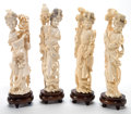 Asian:Japanese, FOUR JAPANESE IVORY OKIMONO OF GEISHA . Maker unknown,Japanese, Meiji period (1868-1912). 10-1/4 inches high (2...(Total: 4 Items)