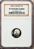Proof Roosevelt Dimes, 2007-S 10C Silver PR70 Ultra Cameo NGC. (#149529)...