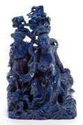 Asian:Chinese, A CHINESE LAPIS LAZULI FIGURAL GROUP . Maker unknown, Chinese, lateQing dynasty . 6-3/4 inches high (17.1 cm). ...