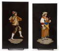 Decorative Arts, Continental:Other , A PAIR OF ITALIAN PIETRE DURE PLAQUES . Maker unknown, Continental,circa 1900. Unmarked. 9-5/8 inches high x 5-... (Total: 2 Items)