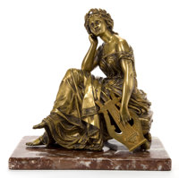 AFTER ALFRED LOUIS HABERT (FRENCH, 1825-1893) A GILT BRONZE FIGURE: MUSE OF MUSIC Alfred Lo