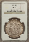 Morgan Dollars: , 1899 $1 MS61 NGC. NGC Census: (350/6813). PCGS Population(217/9458). Mintage: 330,846. Numismedia Wsl. Price for problemf...