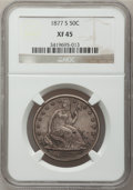 Seated Half Dollars: , 1877-S 50C XF45 NGC. NGC Census: (21/389). PCGS Population(35/397). Mintage: 5,356,000. Numismedia Wsl. Price for problem ...