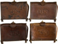 Military & Patriotic:Foreign Wars, Lot of Four U.S. Russet Brown McKeever Cartridge Boxes.... (Total: 4 Items)