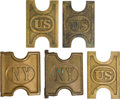Military & Patriotic:Indian Wars, 5 1880's US & NY Cartridge Belt Plates... (Total: 5 Items)