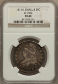 Bust Half Dollars: , 1812/1 50C Small 8 XF40 NGC. O-102a. NGC Census: (9/69). PCGSPopulation (18/83). Numismedia Wsl. Price for problem free ...