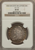 Bust Half Dollars: , 1834 50C Small Date, Small Letters XF45 NGC. O-113. NGC Census:(0/0). PCGS Population (144/545). (#6166)...