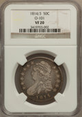 Bust Half Dollars: , 1814/3 50C VF20 NGC. O-101. NGC Census: (4/422). PCGS Population(5/140). Numismedia Wsl. Price for problem free NGC/PCGS...