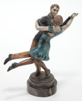 Bronze:European, A PAIR OF ART DECO STYLE PATINATED BRONZE POLYCHROME DANCERS .Maker unidentified, France, 20th century. Marks: J.Lauroff...
