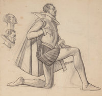 DEAN CORNWELL (American, 1892-1960) Sir Walter Raleigh, study for Raleigh Room mural, 1938 Charcoal
