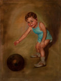 Fine Art - Painting, Russian, ADELAIDE HIEBEL (American, 1879-1965). Boy with his Ball. Oil on canvas. 41-3/4 x 30 inches (106.0 x 76.2 cm). Signed lo...