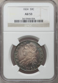Bust Half Dollars: , 1824 50C AU53 NGC. NGC Census: (55/514). PCGS Population (70/400).Mintage: 3,504,954. Numismedia Wsl. Price for problem fr...