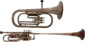 Military & Patriotic:WWI, Pair of Vintage Musical Horns: Baritone and Herald Trumpet....(Total: 2 Items)