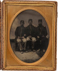 Photography:Tintypes, Half Plate Tintype Of Two Civil War US Officers And EnlistedMan....