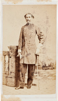Carte de Visite Of Confederate General Braxton Bragg With New Orleans Backmark