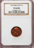 Proof Lincoln Cents, 1936 1C Type Two--Brilliant Finish PR64 Red NGC. NGC Census:(129/83). PCGS Population (400/188). Mintage: 5,569. Numismedi...