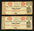 Obsoletes By State:Ohio, Logansport, IN- State Stock Bank $100 18__ Two Examples. ...(Total: 2 notes)